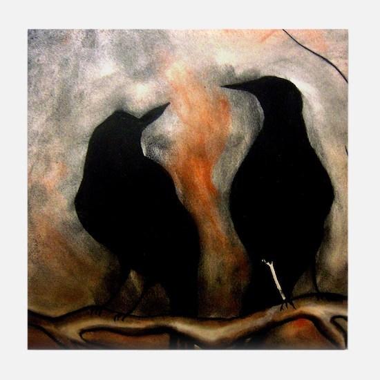 Black Birds Tile Coaster