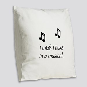 Live In Musical Burlap Throw Pillow