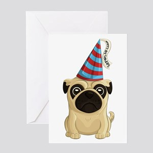 Happy Birthday Pug Greeting Cards