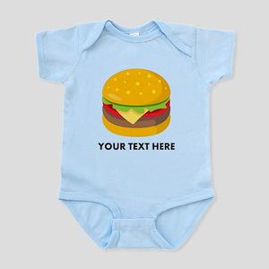 Emoji Personalized Cheeseburge Baby Light Bodysuit