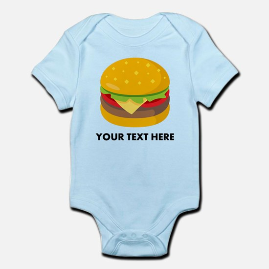 Emoji Personalized Cheeseburge Baby Light Bodysuit