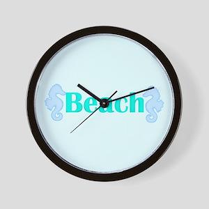 Beach in Teal Seahorses Wall Clock