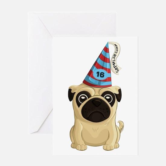 Sweet Sixteen Pug Greeting Cards