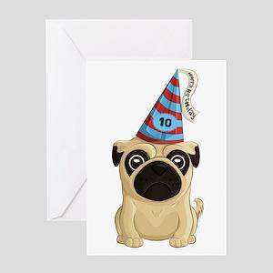 10th Birthday Pug Greeting Cards