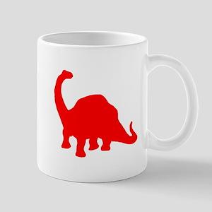 Brachiosaurus Silhouette (Red) Mugs
