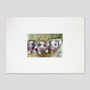 Piglets, Animal art! 5'x7'Area Rug