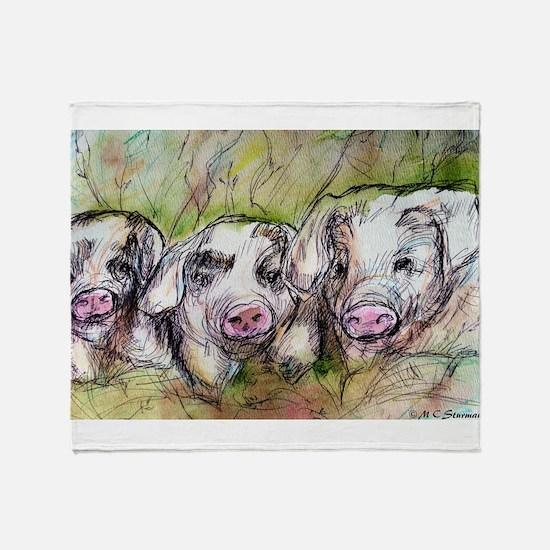 Piglets, Animal art! Throw Blanket