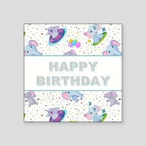 "BIRTHDAY ELEPHANT Square Sticker 3"" x 3"""