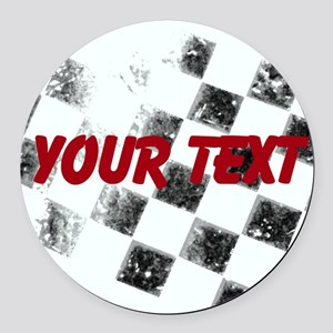 Checkered Flag Round Car Magnet
