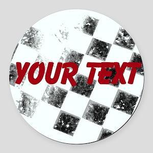 Checkered Flag Round Car Magnet