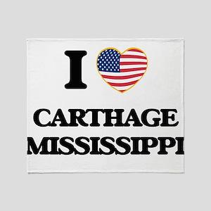 I love Carthage Mississippi Throw Blanket