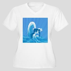 Retro look surfer Women's Plus Size V-Neck T-Shirt