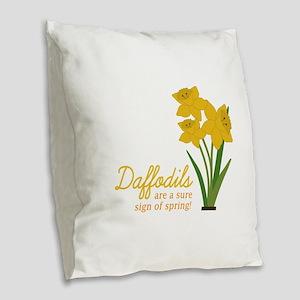 Sign Of Spring Burlap Throw Pillow
