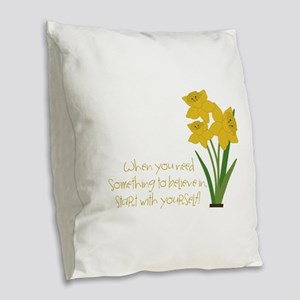 Something To Believe Burlap Throw Pillow