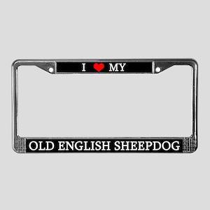 Love Old English Sheepdog License Plate Frame
