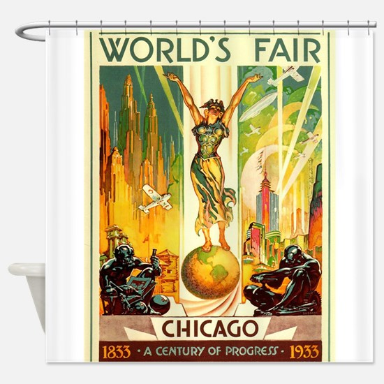 Chicago World's Fair Vintage Travel Poster Shower