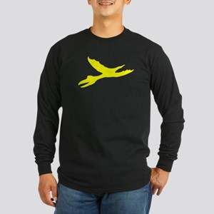 Pterodactyl Silhouette (Yellow) Long Sleeve T-Shir