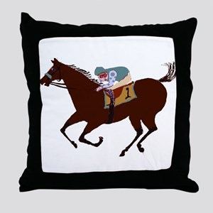 The Racehorse Throw Pillow