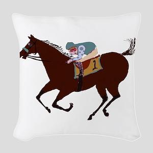 The Racehorse Woven Throw Pillow