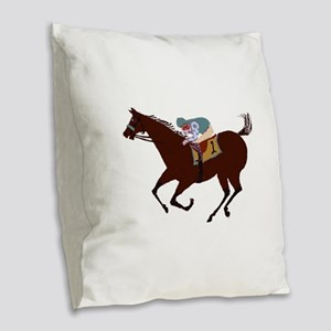 The Racehorse Burlap Throw Pillow
