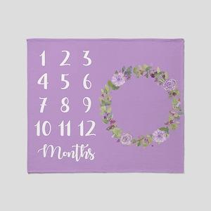 Purple Floral Throw Blanket