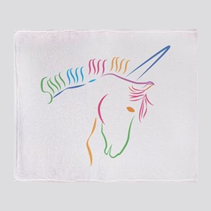 Unicorn Outline Throw Blanket