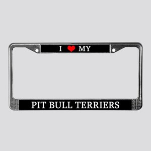Love Pit Bull Terriers License Plate Frame