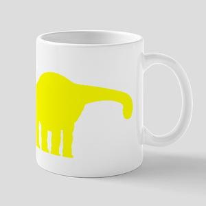 Brachiosaurus Silhouette (Yellow) Mugs