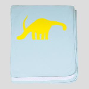 Brachiosaurus Silhouette (Yellow) baby blanket