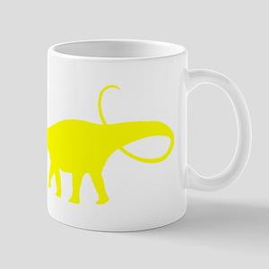 Apatosaurus Silhouette (Yellow) Mugs