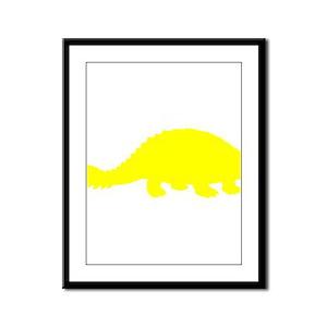 Ankylosaurus Silhouette (Yellow) Framed Panel Prin