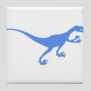Velociraptor Silhouette (Blue) Tile Coaster