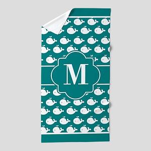 Teal and White Dolphins Custom Monogra Beach Towel