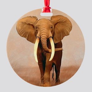 Painted Elephant Round Ornament