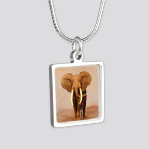 Painted Elephant Silver Square Necklace