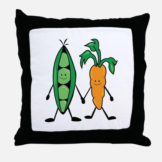 Carrot & Peas Throw Pillow