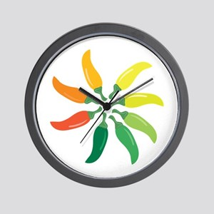 Colorful Peppers Wall Clock