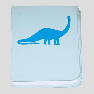 Brachiosaurus Silhouette (Blue) baby blanket