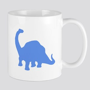 Brachiosaurus Silhouette (Blue) Mugs