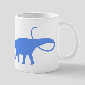 Apatosaurus Silhouette (Blue) Mugs