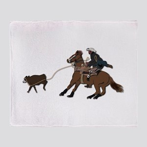 Calf Roping without Text Throw Blanket