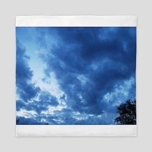 Deep Blue Storm Clouds Queen Duvet