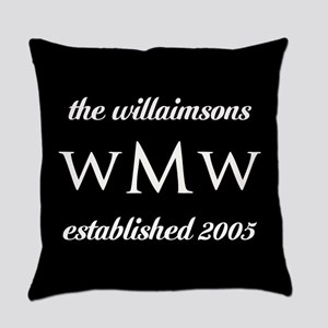 Black and White Custom Monogram Everyday Pillow