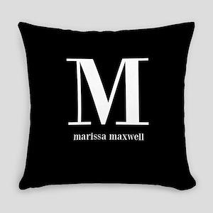 Black and White Monogram Name Everyday Pillow