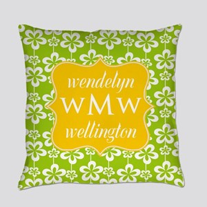 Lime Green and Yellow Floral Monogram Everyday Pil