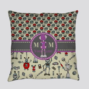 Monogrammed Robot Machines Everyday Pillow