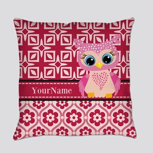 Cute Pink Owl Personalized Everyday Pillow