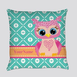 Cute Pink Little Owl Personalized Everyday Pillow