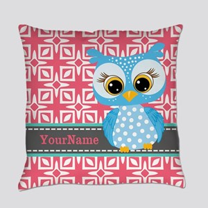 Beautiful Teal Owl Personalized Everyday Pillow