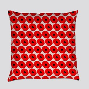 Big Red Poppy Flowers Pattern Everyday Pillow